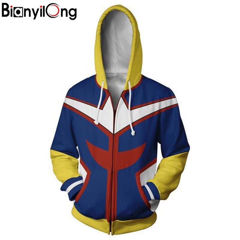 Bianyilong 2018 New Men Women Hooded Hero College 3d Printed Hoodies Tracksuit Zipper Hoody Hooded Hip Hop Tops Zip Hoodie