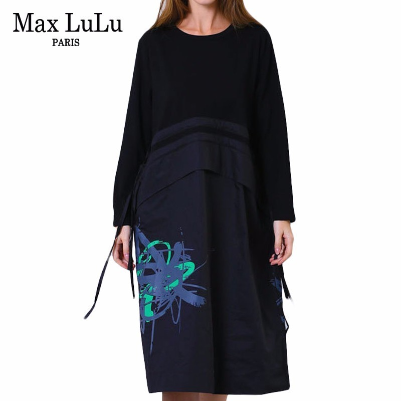 Max LuLu 2019 Spring Fashion Korean Style Ladies Clothes Womens 3d Printed Long Dresses Casual Vestidos