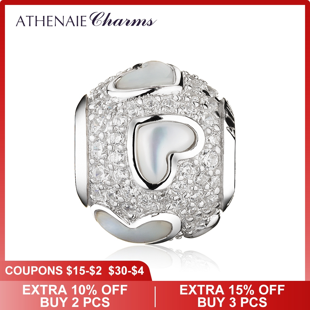 ATHENAIE 925 Sterling Silver Mother of Pearl and CZ Luminous Hearts Charms Bead fit Charm Bracelet Valentine Day Gift
