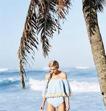 Купить с кэшбэком KRIATIV 2019 Push Up Women Bikinis Bathing Suit Swimwear Light Blue Sling Strapless Shoulder Swimsuit Wholesale Drop Shipping