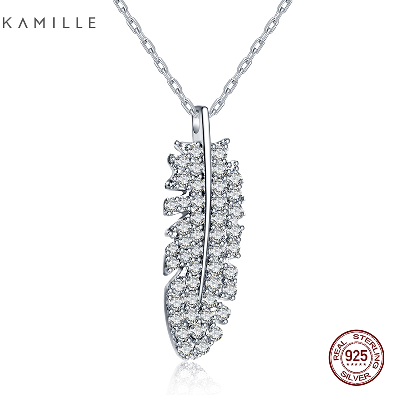 Kamille 925 Sterling Silver Necklace Feather Pendant Necklaces Brief Chain Tremendous Jewellery For Girls Birthday Valentine's Day Present Necklaces, Low-cost Necklaces, Kamille 925 Sterling Silver Necklace Feather Pendant Necklaces...