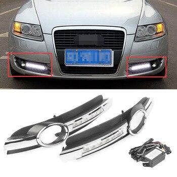 LED Daytime Running Light For Audi A6 A6L C6 DRL Fog Driving Lamp 2005 2006 2007 2008