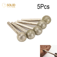 5Pcs 20mm 60# Round Ball Shape Diamond Grinding Head Mounted Point Burrs Bits Rotary Polishing Carving Tool with 1/4 Shank