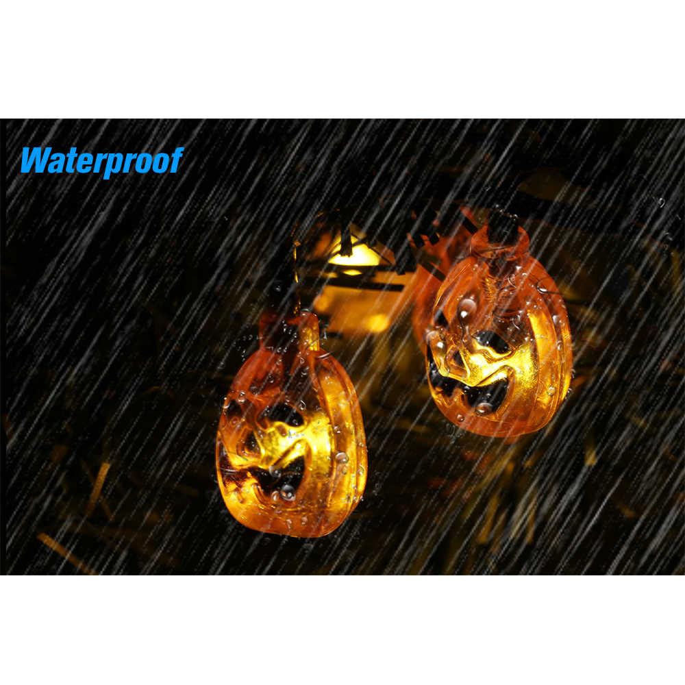 Хэллоуин Тыква светящиеся гирлянды на солнечной энергии Светодиодная лента украшение для вечеринки огни для дворов, Витрины Магазина, магазинов, деревьев