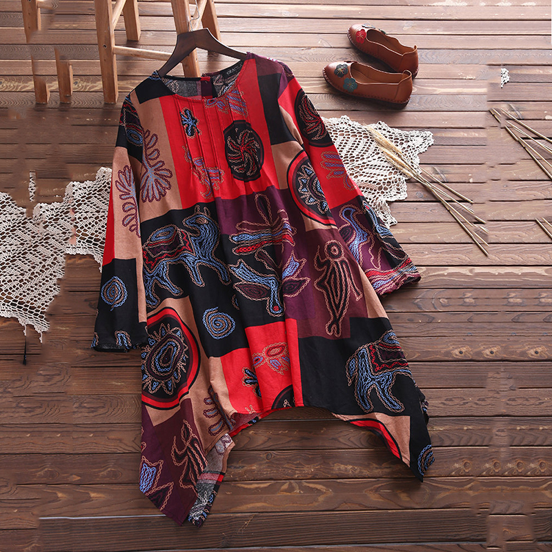 Spring Summer New Style Women Print Long Sleeve Patchwork Dress Fall Fashion Casual O Neck Asymmetrical Mini Dresses in Dresses from Women 39 s Clothing