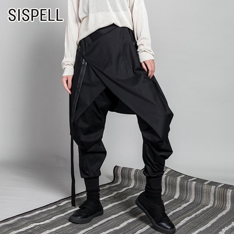 SISPELL Patchwork Women's Pant Asymmetric Ribbon Loose Oversize Elastic High Waist Harem Pants Female Autumn Fashion Tide