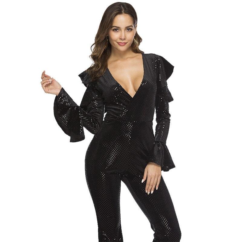 MUXU noir sequin body moulante barboteuses salopette pour femme streetwear une pièce combinaison justaucorps combinaisons vêtements femmes à manches longues