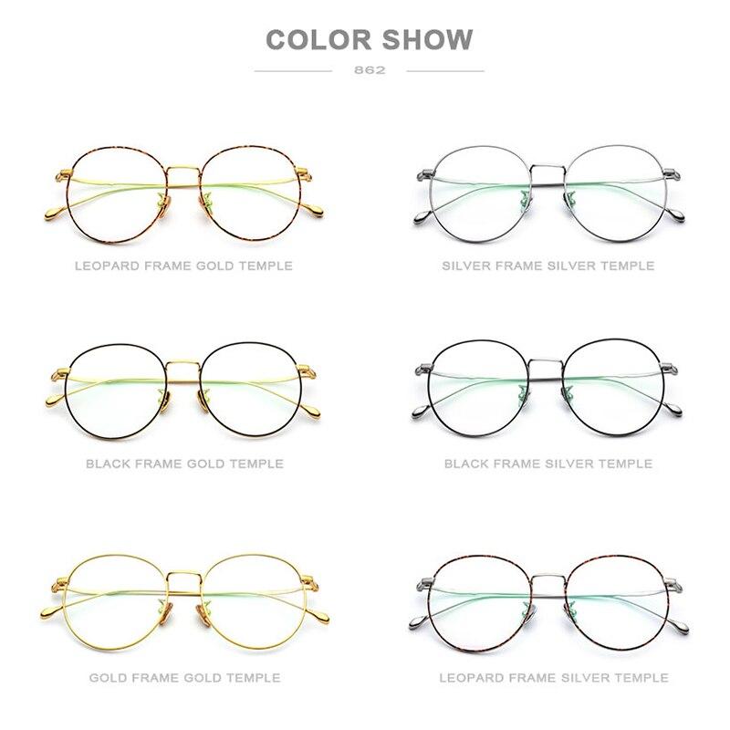 Puro B Marco de gafas de titanio mujeres 2018 ultraligero gafas de prescripción hombres gafas redondas miopía marcos ópticos gafas - 5
