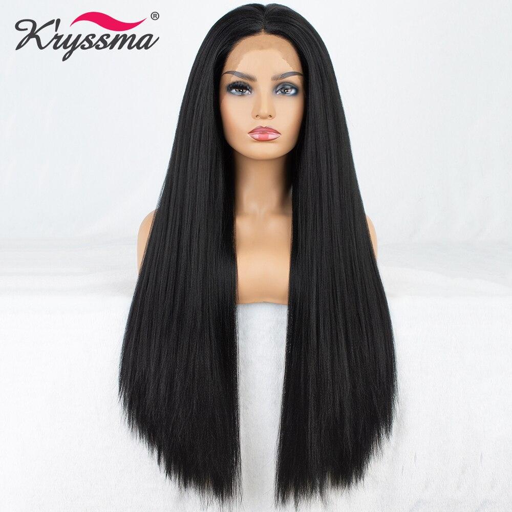 Длинный черный парик прямо синтетические Синтетические волосы на кружеве парик 24 дюйм(ов) парики для женщин средней части бесклеевой высок...