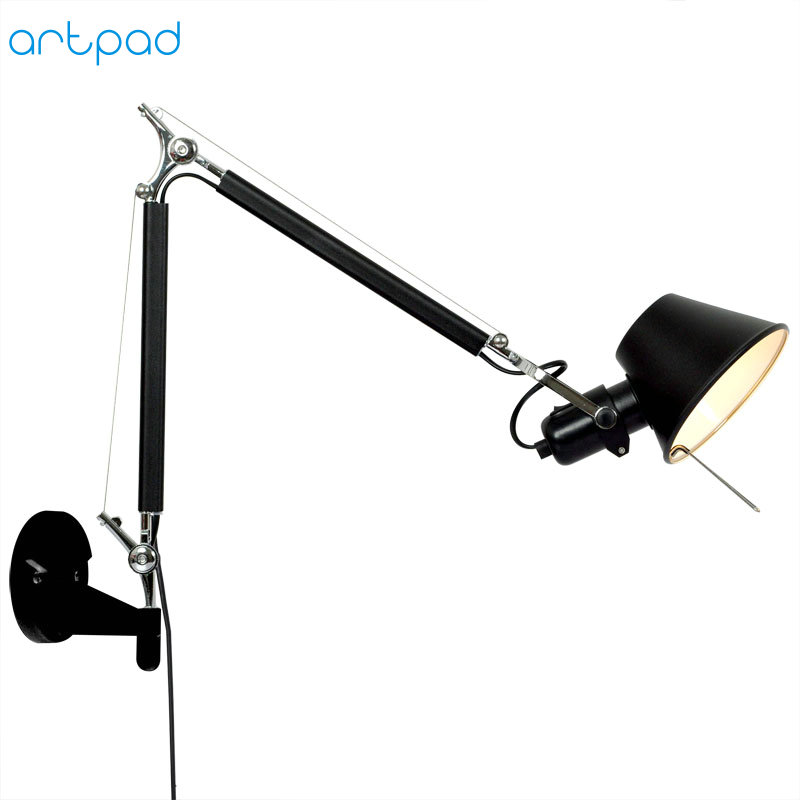 American Industrial Style Long Arm Hanging Wall Light Fixture Silver Black Color E27 Base for Living Room Bedroom Bedside Decor