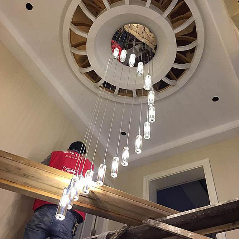 Us 37 32 13 Off 1 6m Stairwell Led Chandelier Crystal Pendant Spiral Stair Lighting Long Staircase Column Lamp G4 Re In