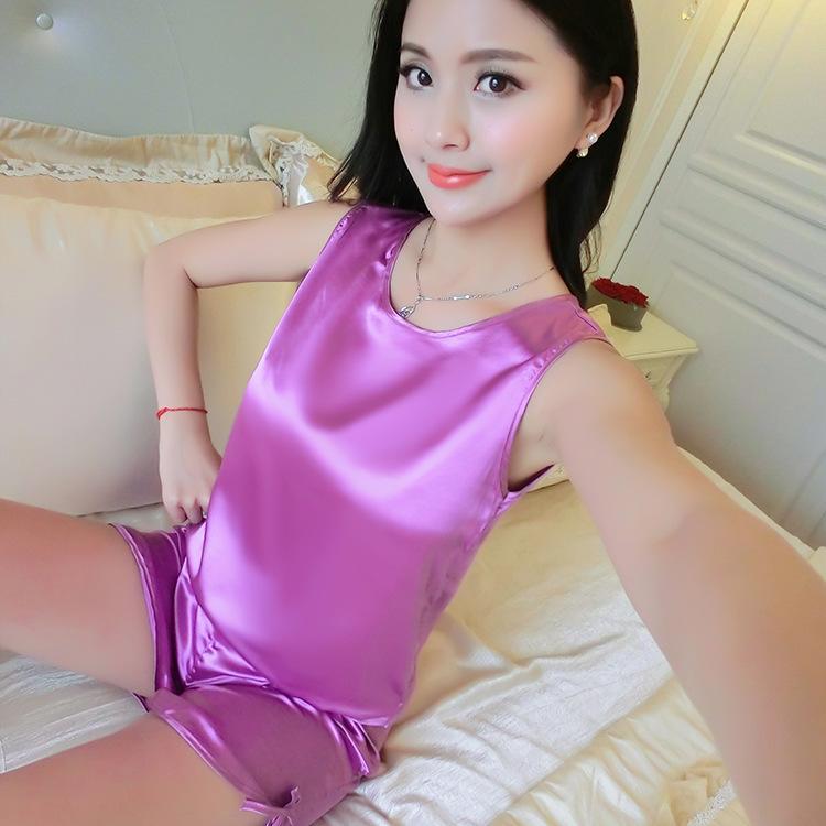 Women Fashion Round Neck Sleeveless Shorts Above Knee Solid   Pajamas     Set   Summer Nightwear