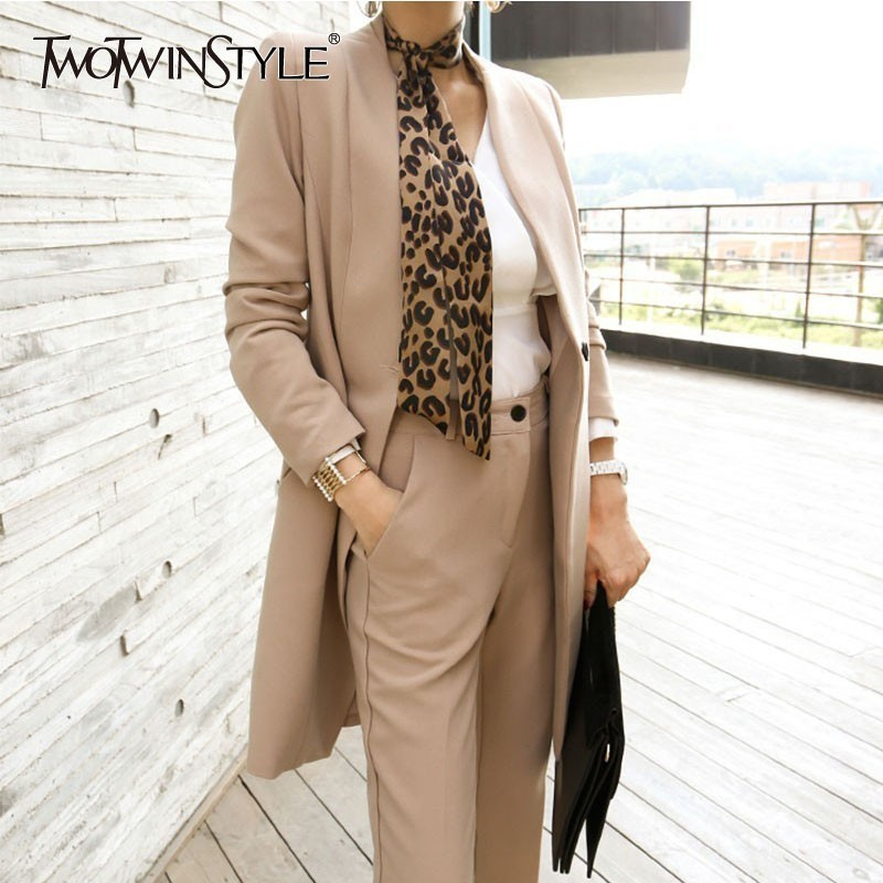 TWOTWINSTYLE OL Fashion Two Piece Set For Women V Neck Long Sleeve Blazer Coat With Belt
