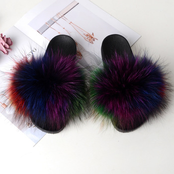 Home Slippers Women Fox Fur Slides Furry Female Indoor Slippers Furry Summer Shoes Woman Sandals Flat Brand Luxury Plus Size Eva 4
