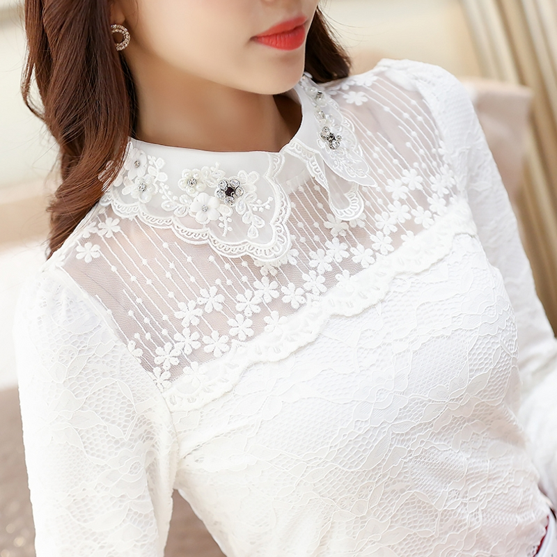 Women Embroidery Lace Blouses Female Long Sleeve Korean Doll Collar Bottom Shirt Turn-down Collar Tops Plus Size 3XL