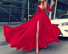 2018 Autumn Long Sleeve Maxi Party Dress Women Backless Deep V Neck Sexy Bodycon Vestidos De Fiesta Wholesale