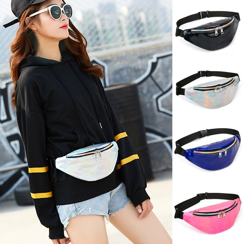 Fashion Casual Women Waist Fanny Pack Belt Bag Travel Hip Bum Bag Adjustable Strap Small Purse Chest Pouch One Size For Girls holographic belt purse