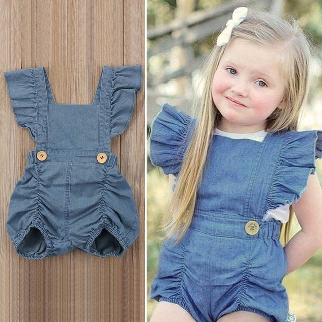 193fc8c0c682 Denim Jeans Baby Girl Romper Sleeveless Ruffle Newborn Clothes Summer  Backless Toddler Jumpsuit Girl s Sunsuit Infant Outfits
