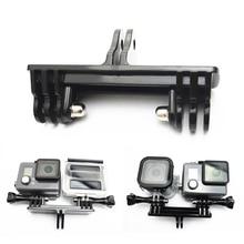 두 개의 카메라 어댑터 마운트 이중 브래킷 마운트베이스 어댑터 gopro hero7 용 모노 포드 스탠드 홀더 6 5 세션 4 3 + 3 xiaomiyi