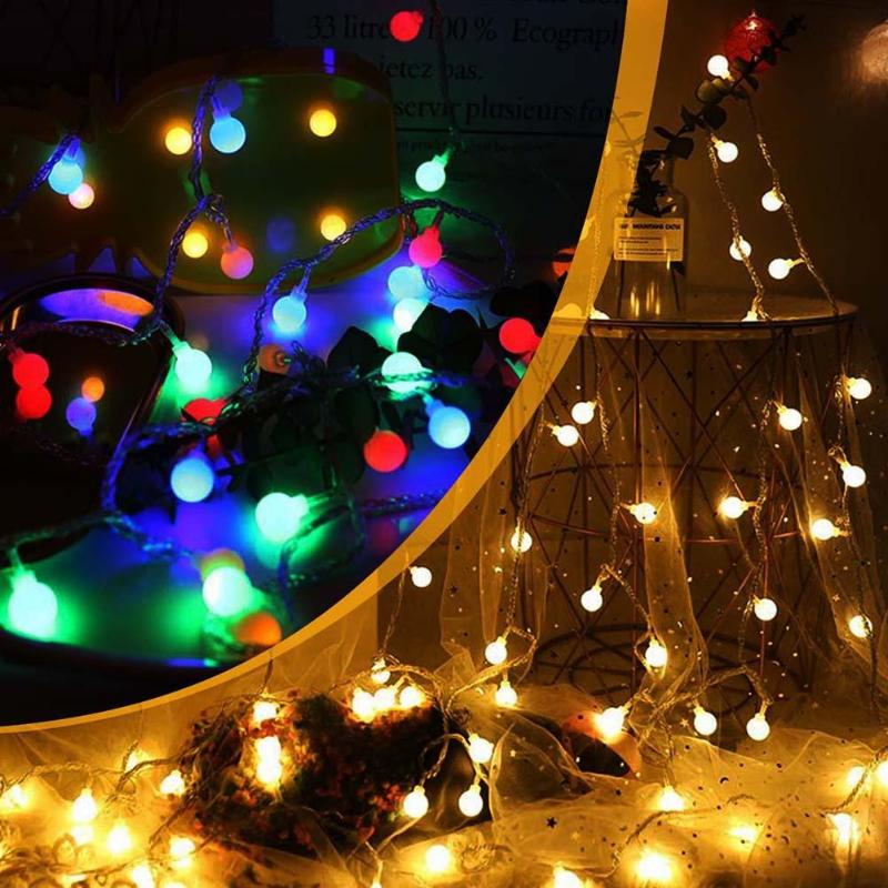 Holiday Lighting Shock-Resistant And Antimagnetic Independent 8.7m 100led Romantic Balls Light String Frosted Balls Wedding Lamps Home Outdoors Festival Party Lighting Party Decoration Waterproof