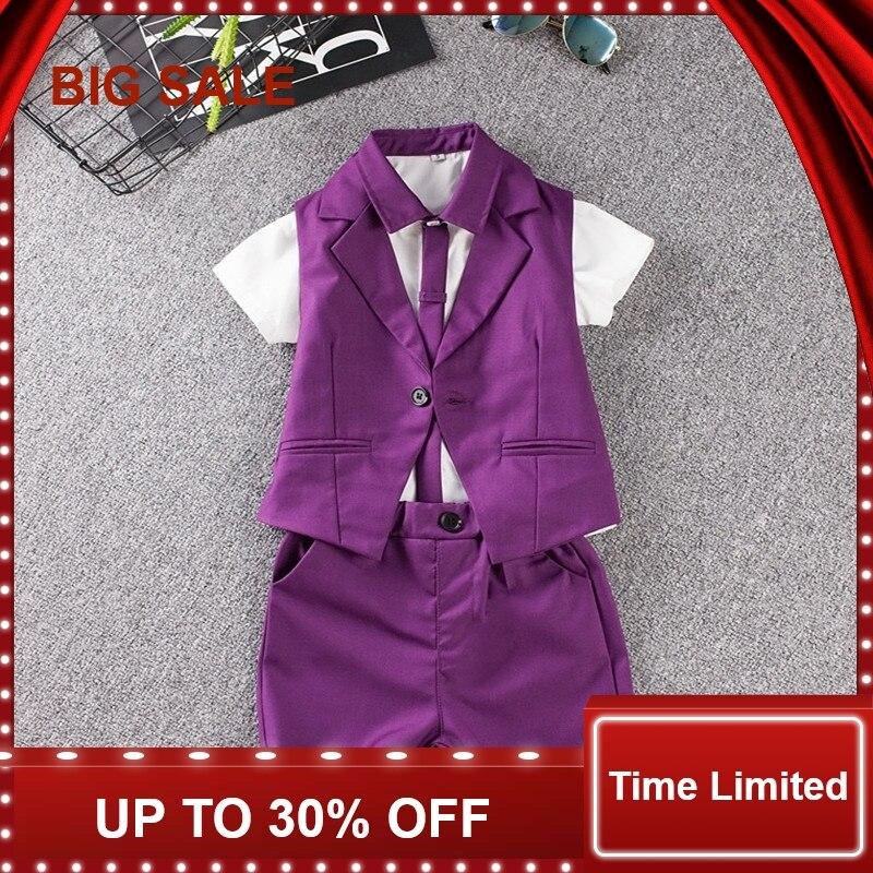 Child Suit Summer Baby Prom Sets Blue/Purple Wedding