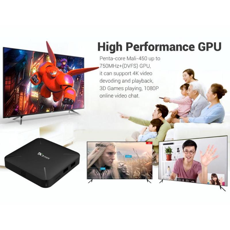 TX3 Mini Android 7.1 Smart TV Box 1+8GB Amlogic S905W Quad Core WiFi H.265 HDMI 4Kx2K Set-top Box Media Player TV Box android