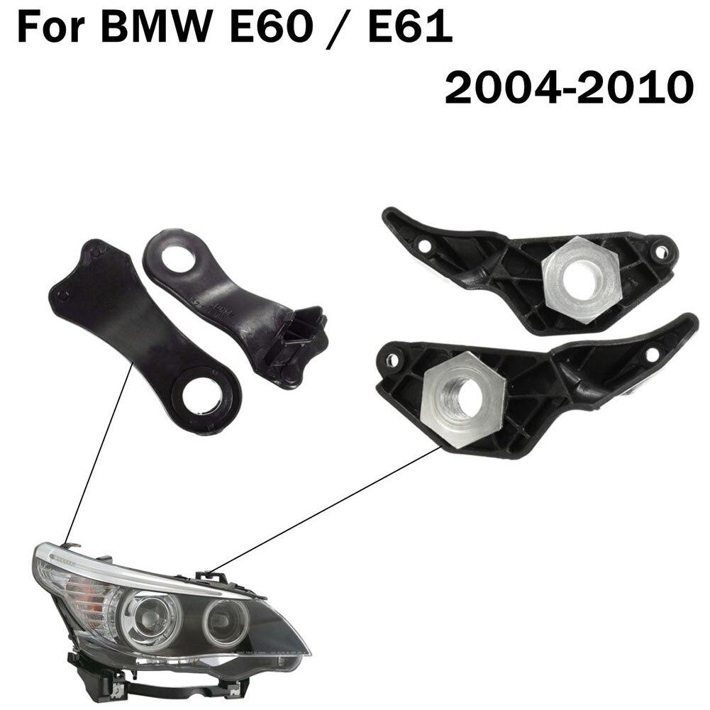2 Pairs Light Holder 523Li Heat Resistant Repair Brackets Replacement Black Halogen Headlamp Car Clips Set E60 520 525 For BMW
