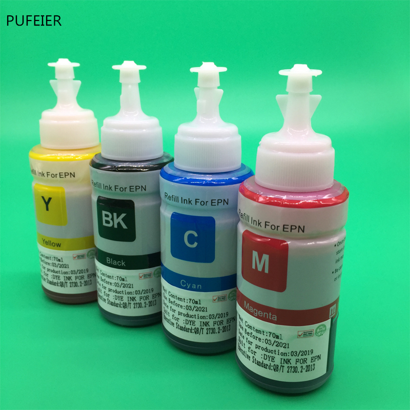 Image 2 - 4PCS 70ML T664 OEM Refill Dye Ink Kit For Epson L220 L301 L303 L310 L313 L351 L353 L358 L360 L363 L365 L455 L551 L558 L585 L1300-in Ink Refill Kits from Computer & Office