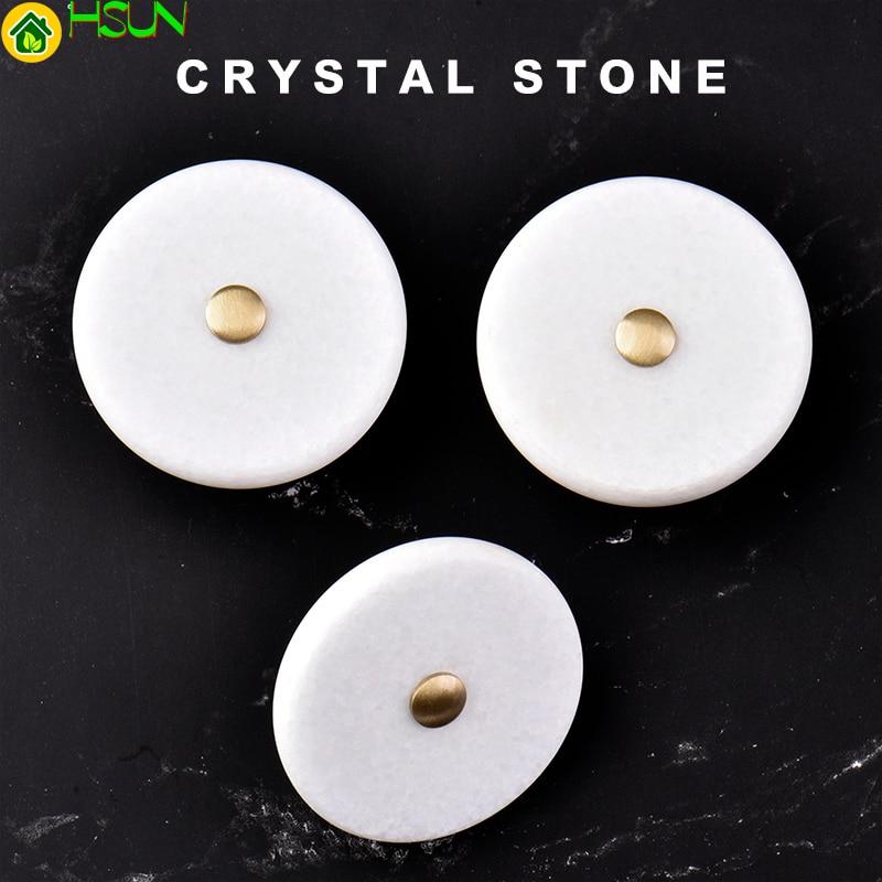 brass+ stone Knob / Dresser Knobs White Cabinet Pulls simple Kitchen Door Handle Furniture Hardware