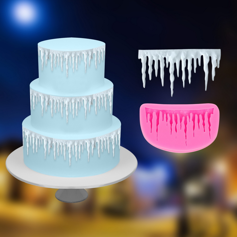 1PC 3D Icicle Chocolate Cake Decorating Tool Cake Fondant Mould Ice-cream Molds