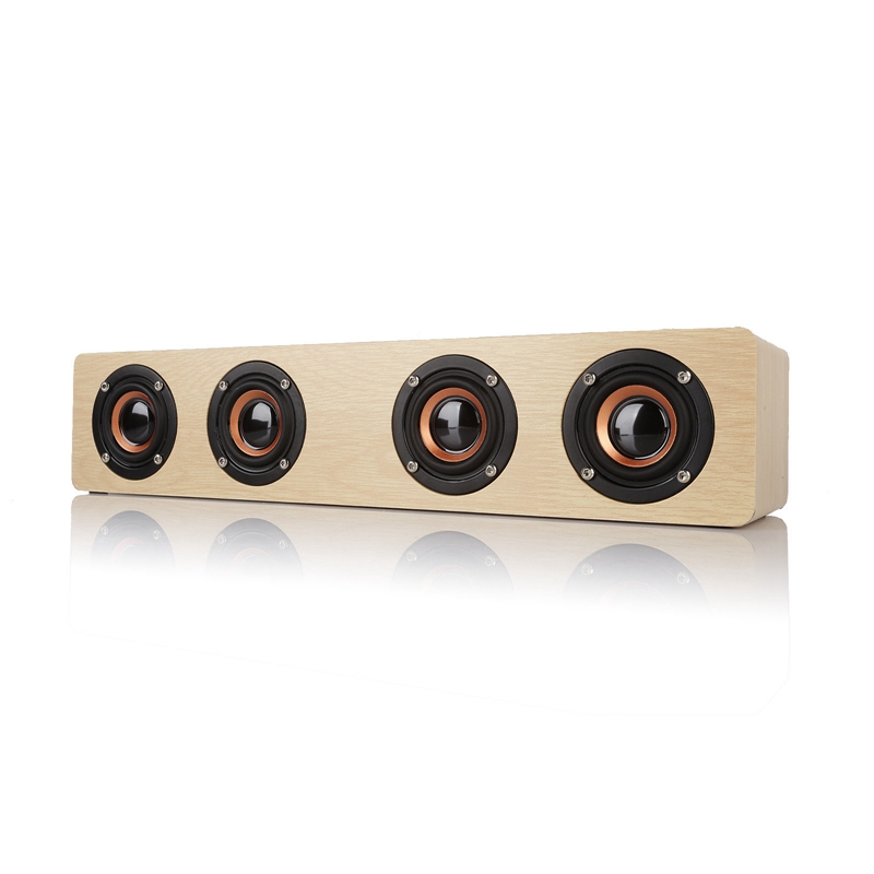 Bluetooth 4.0 Wooden Hi-Fi Loud Speaker FM Radio 12W Wireless 3000Mah
