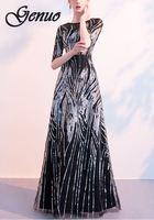 2019 Women Dress Summer Elegant Half Sleeve O neck Sequin Dress Female Sexy Hollow Out Bridesmaid Long Party Dress Black