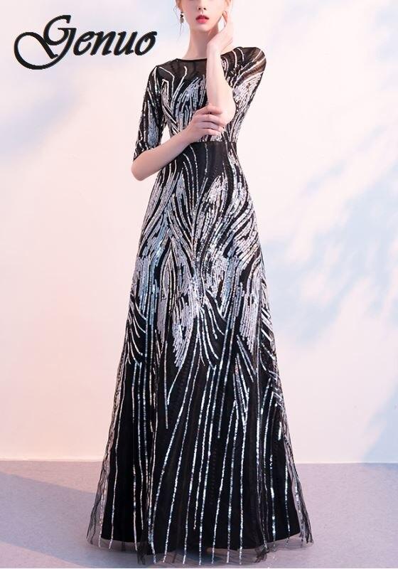 2019 femmes robe d'été élégante demi manches o-cou Sequin robe femme Sexy évider demoiselle d'honneur longue robe de soirée noir