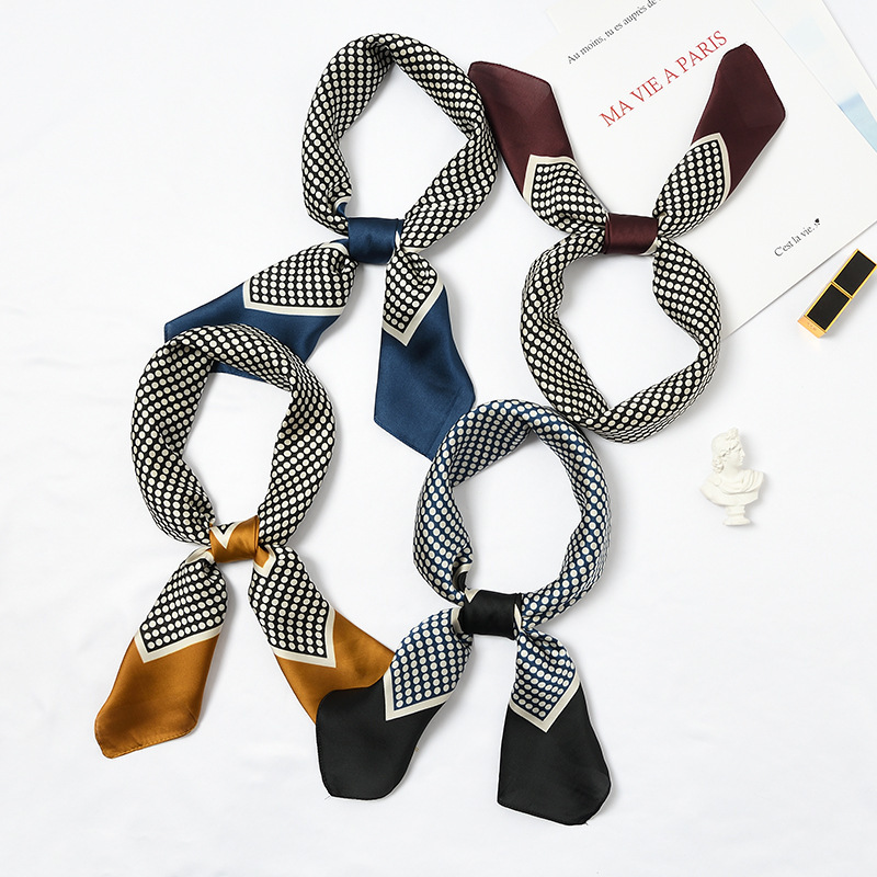 Scarf   Women 70*70cm 2019 Spring Autumn Dot Point Small Square   Scarves   Female Headband Wrist   Wrap   Square Head   Scarves     Wraps