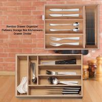 Bamboo Drawer Organizer Flatware Storage Box Kitchenware Drawer Divider with compartment With Two Type Of 4 Grid /6 Grid
