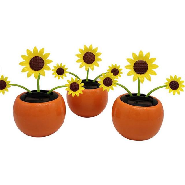 Solar Shaking Head Sun Flower Car Accessories