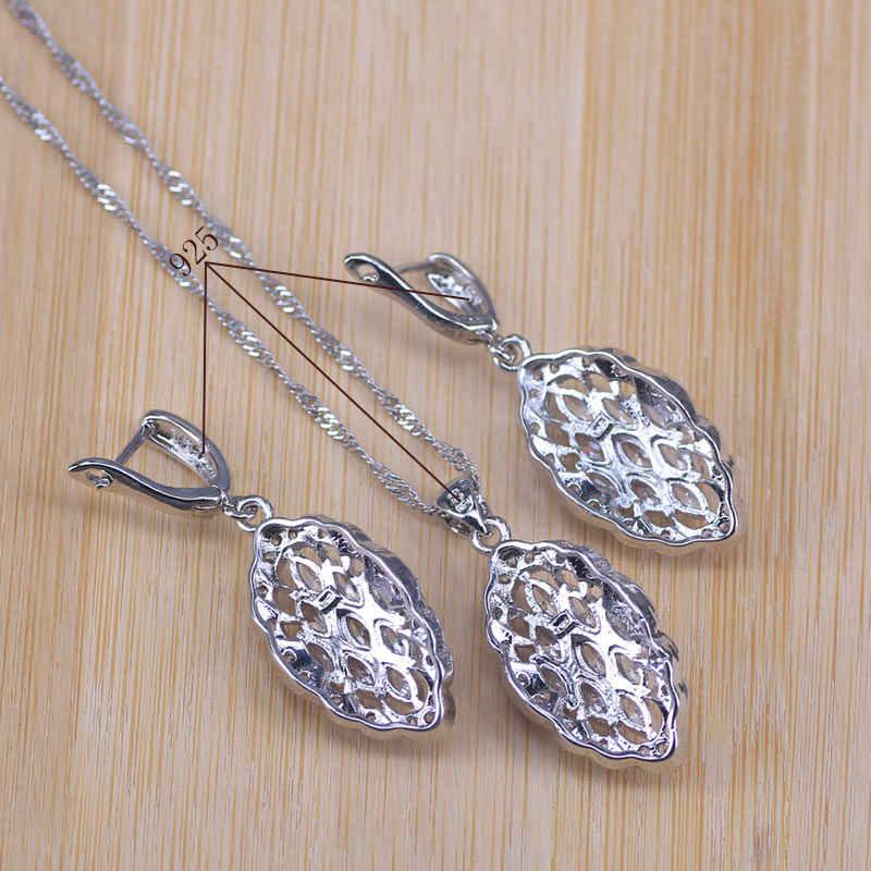 קידום לבן מעוקב Zircnoia כסף צבע כלה תכשיטי סטים לנשים צמיד עגילי שרשרת תליון
