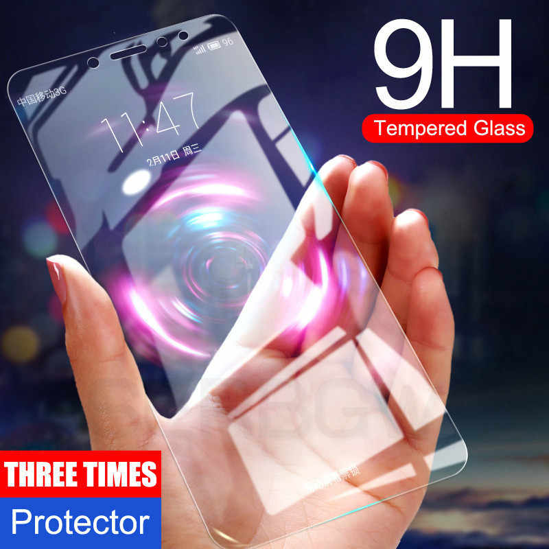 three times protective glass for xiaomi redmi 4X 4A 5A 9H tempered glass film for xiaomi redmi Note4X 5 5plus redmi note6