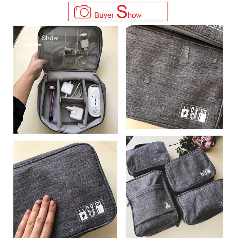 57ff2429627a ... Travel Cable Bag Portable Digital USB Gadget Organizer Charger Wires  Cosmetic Zipper Storage Pouch kit Case
