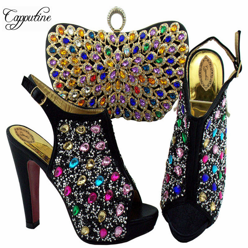 e3c2e73d Capputine Negro Color Para amarillo Mujer Tacones Green Estilo Fiesta  púrpura Diamantes Y Imitación Italiano Negro Blue Muy Zapatos ...