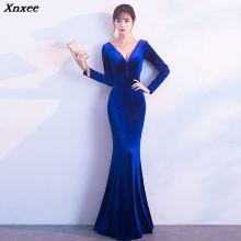 Xnxee Women Elegant Blue Velvet Sexy Deep V Sleeveless Beading Long Sleeve Backless Mermaid Party Club Dress