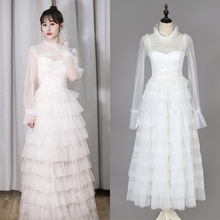 Dress damen embroidery pleated mesh white dress host sexy formal gown party dress18238