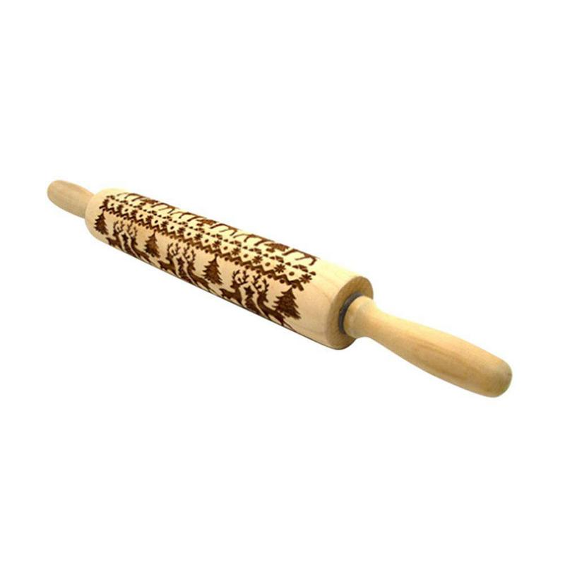 New Christmas Rolling Pin Engraved Carved Wood Embossed