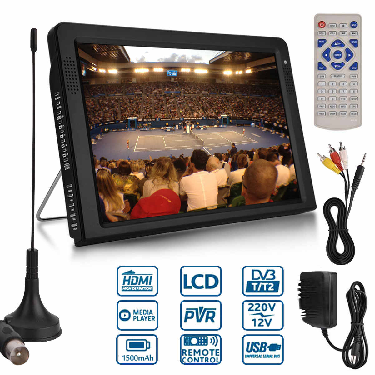 10.2 Inci 1080P PVR 12V Portable Dvb-t/DVB-T2 TFT LED HD TV Televisi Analog Digital AC/ DC