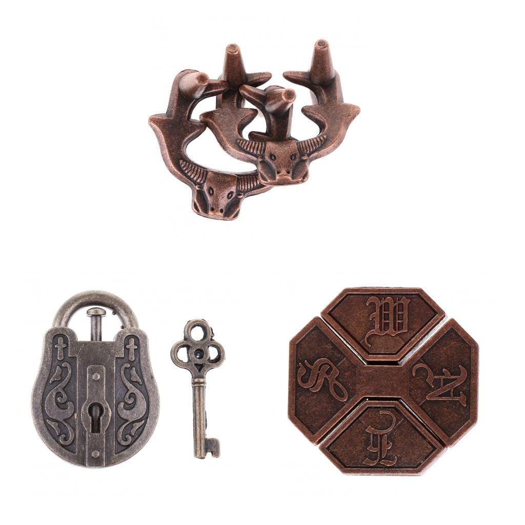3 Pieces Metal Puzzle IQ & EQ Test Toys Lock Brain Teaser Toy for Adults Children Kids Gifts