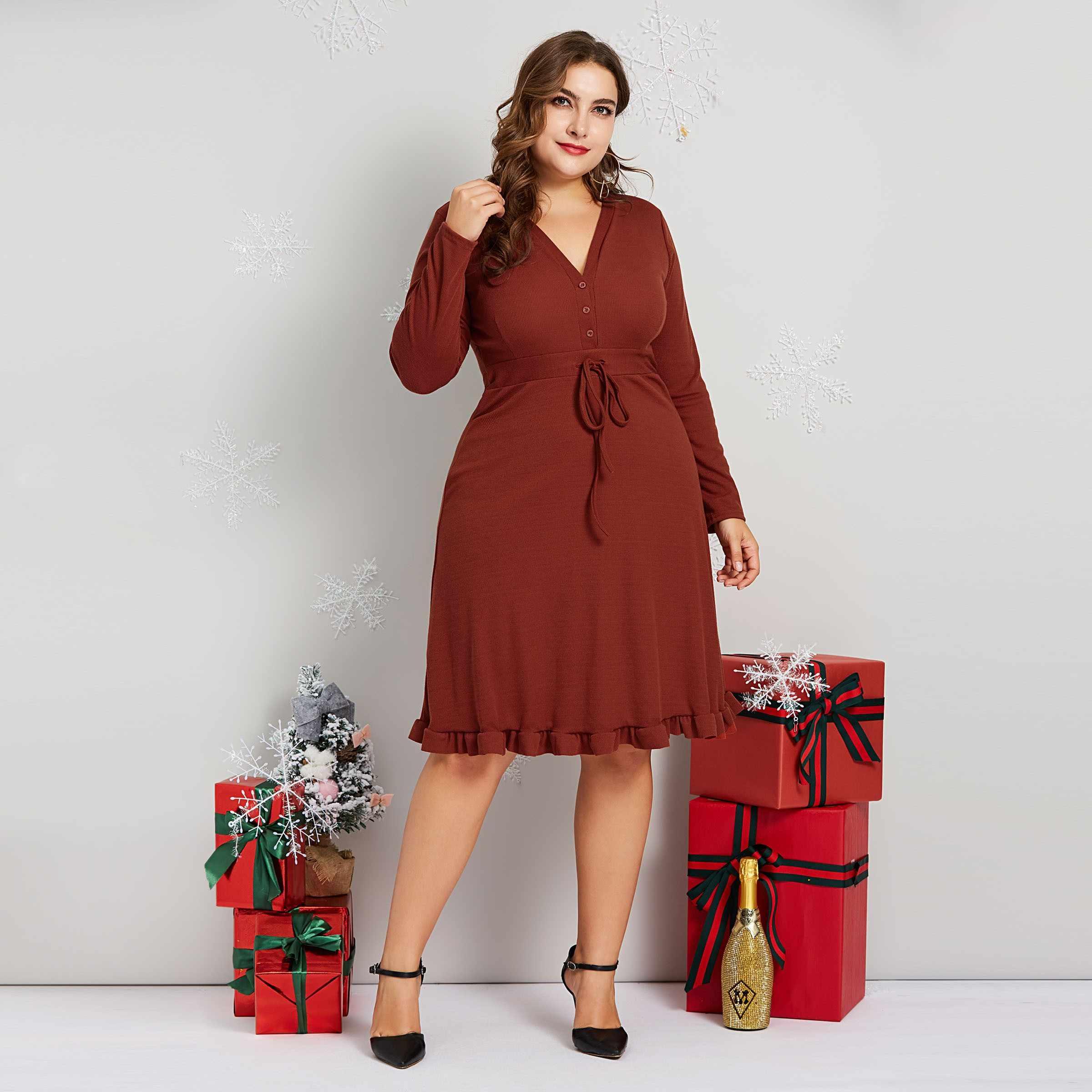 ab3048c43b3 Plusee Vintage Dresses Elegant A Line Women Drawstring Slim Elastic Ladies  Autumn High Street Simple Fashion