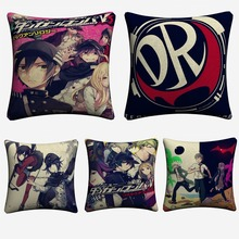 New Danganronpa Comic Japanese Anime Decorative Cotton Linen Cushion Cover 45x45cm For Sofa Pillow Case Home Decor Almofada