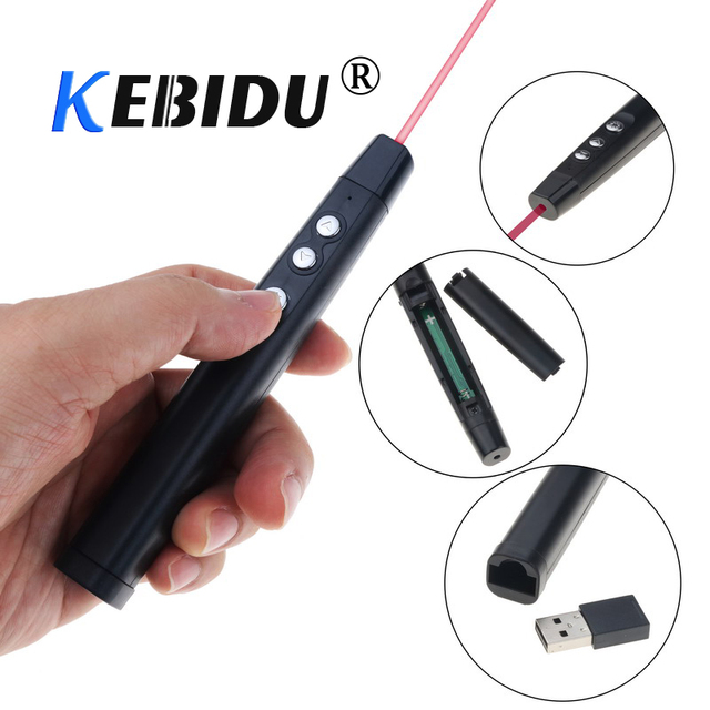 Kebidu Wireless Remote Control Laser Pen RF 2.4GHz PowerPoint Clicker Presentation Remote USB Control Pen + Receiver For Office
