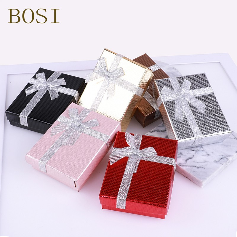 Box Engagement Ring For Earrings Necklace Bow Square Jewelry Organizer Display Gift Holder Red White Navy New Hot Black Red Gold