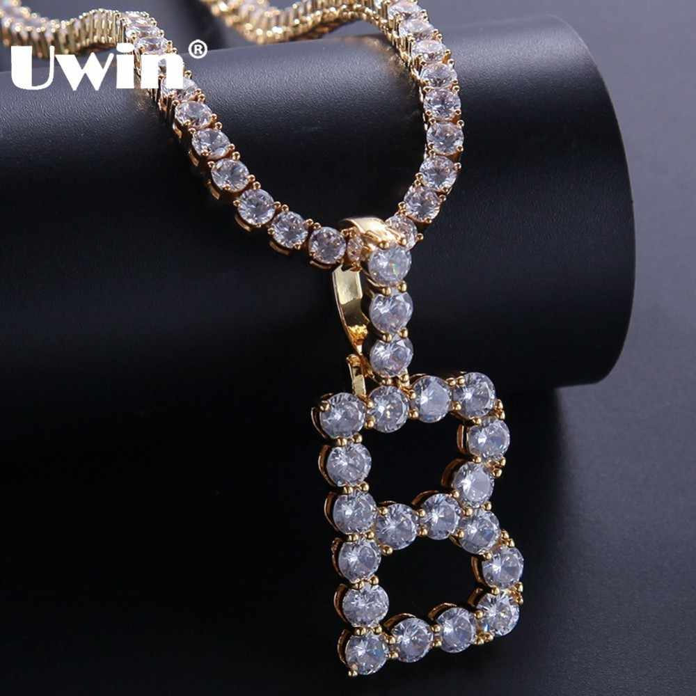 UWIN 26 Bubble Intial Letters Round Iced Cubic Zirconia A-Z Pendant With 4mm CZ Tennis Chains Fashion Men Necklace Jewelry